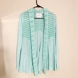 Anthropologie Angel Of The North Mint Cardigan